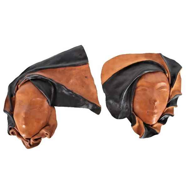 (2) Molded Leather Wall Masks