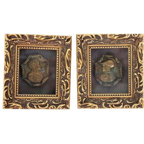 Pair of Portrait Buttons, Framed