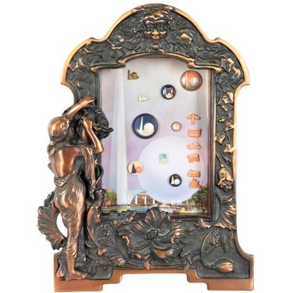 1939 NY World's Fair Pins in Ornate Frame