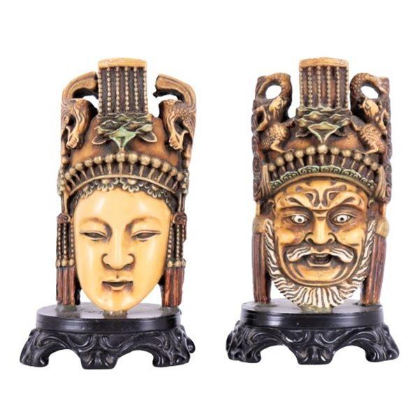 (2) Asian Mask-Like Figures