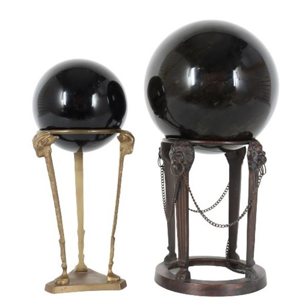 (2) Black Stone Spheres on Brass Stands