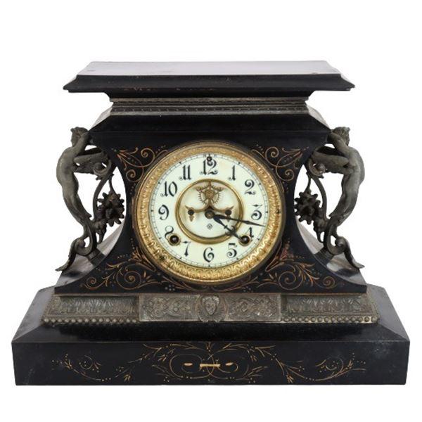 Vintage Ansonia Gilt Decorated Iron Mantle Clock
