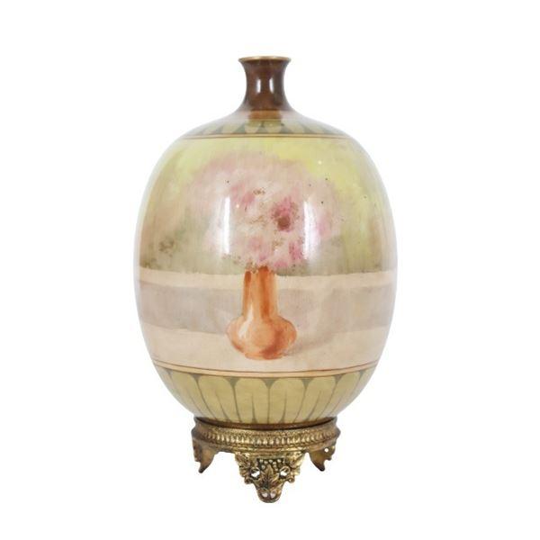 Hand-Painted Figural Ceramic Vase