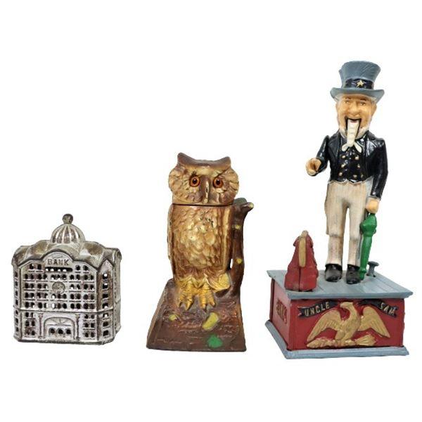 (3) Cast Iron Figural Banks