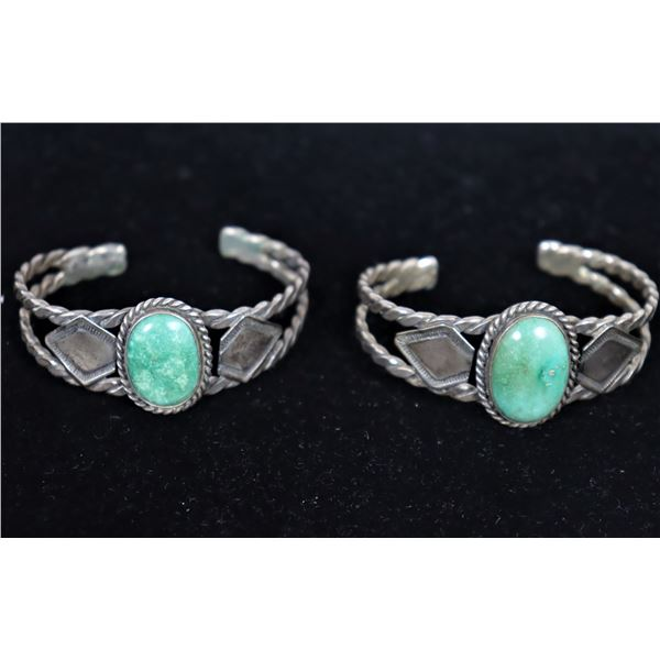 (2) New Mexico Silver & Turquoise Cuff Bracelets