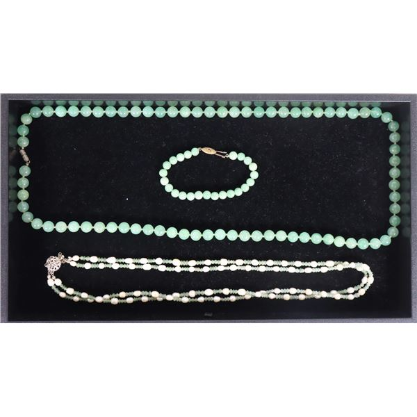 Green Stone Necklace w Bracelet, & Pearl Necklace