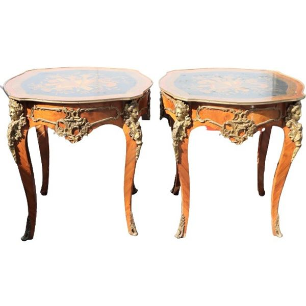 Pair of Inlaid Ormolu Mounted French Style Tables