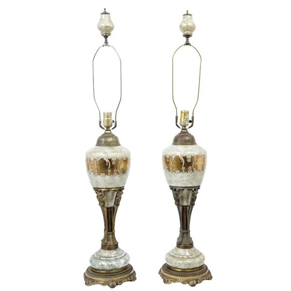 Pair of Gilded Ceramic & Bronze Lamps