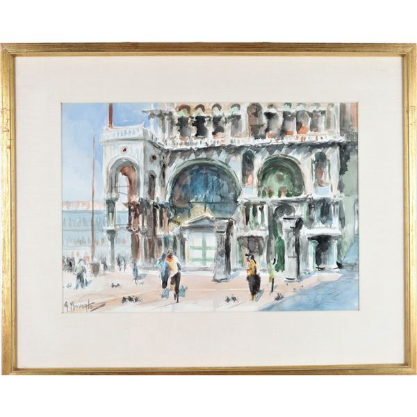 A. Missingto (20th c) Doges Palace Watercolor
