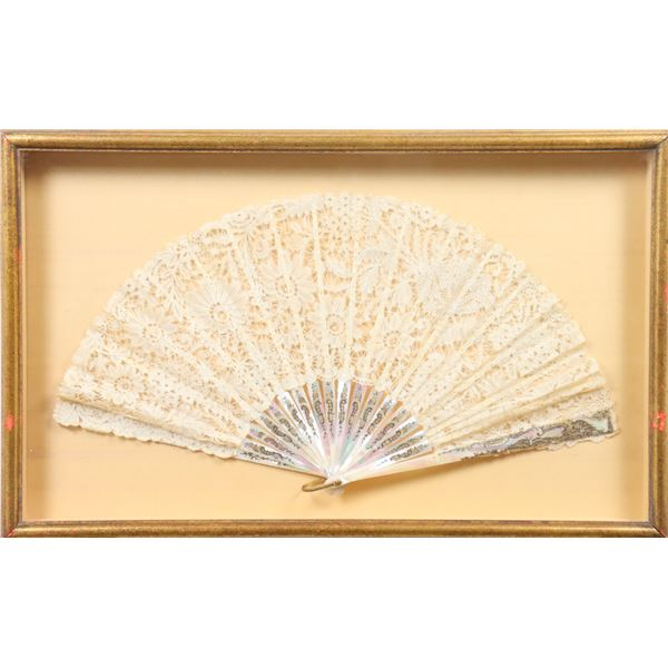 Ladies Lace & Mother of Pearl Fan, Framed