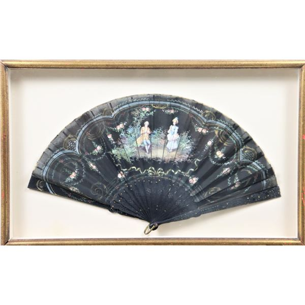 Antique French Hand Painted Ladies Fan, Framed