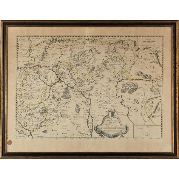 Early Map of Hungary, Framed