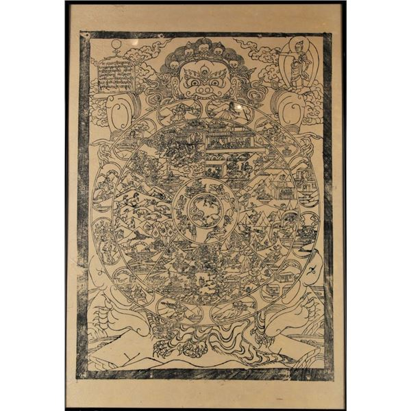 Tibetan Thangka Buddhist Wheel of Life on Paper