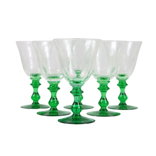 (6) Hand-blown Water Goblets