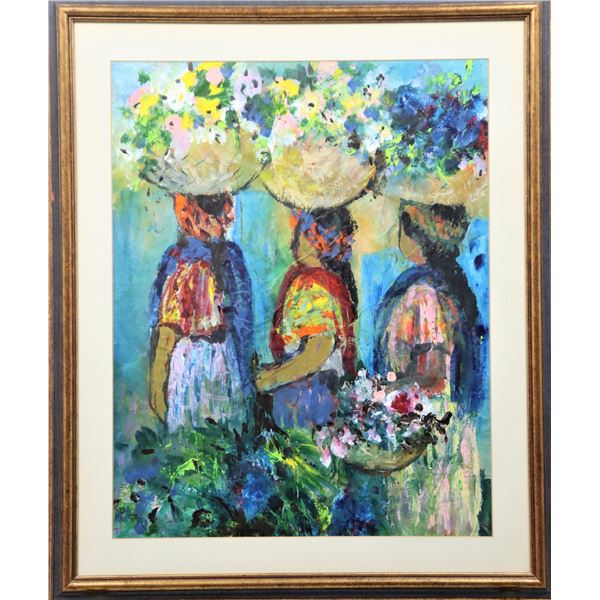 Signed Watercolor, Three Women with Baskets""