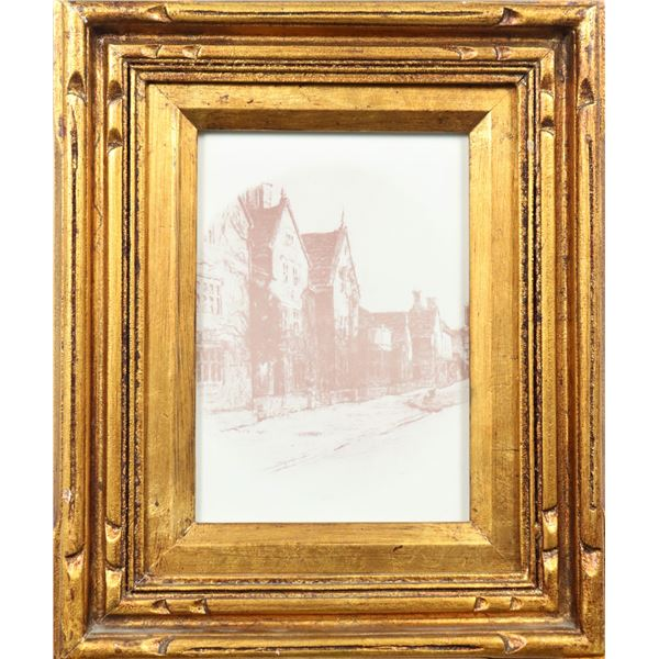 Framed Etching of English Townhouses