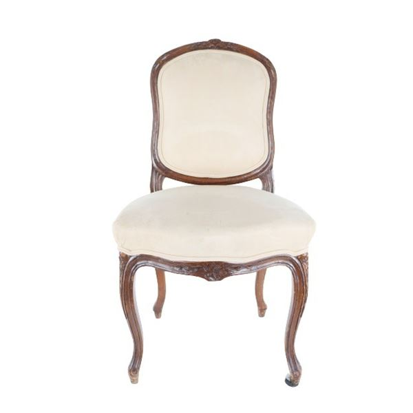French Upholstered & Carved Wood Chair