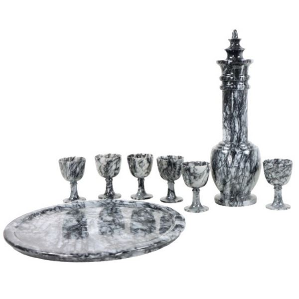 Set of Stone Tray w/ Chalices & Drink Vessel