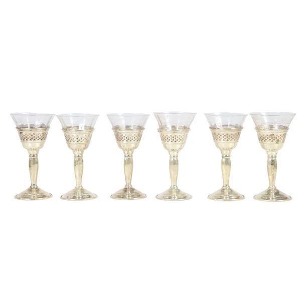 (6) Cartier Sterling & Glass Cordials