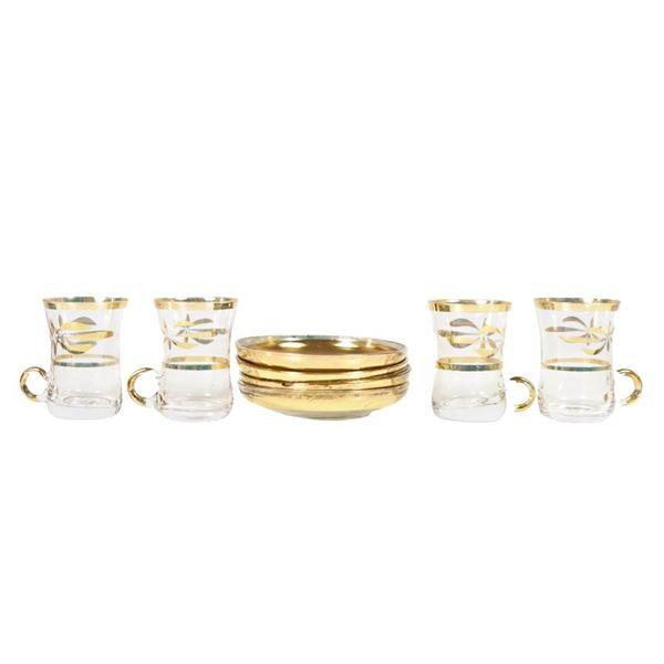 Set of 4 Glasses & Saucers