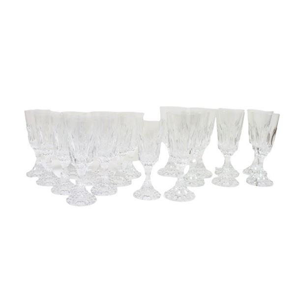 Set of (19) Baccarat Cut Crystal Glasses