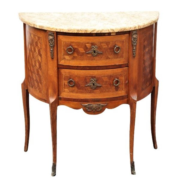 Antique Marquetry Demilune Marble Top Bombay