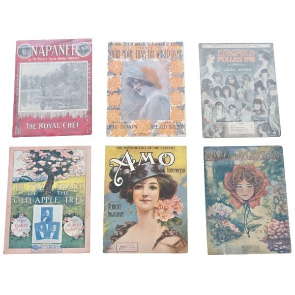 (6)Collection Vintage & Antique Piano Music Sheets