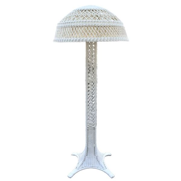 Antique White Wicker Floor Lamp w/ Original Shade