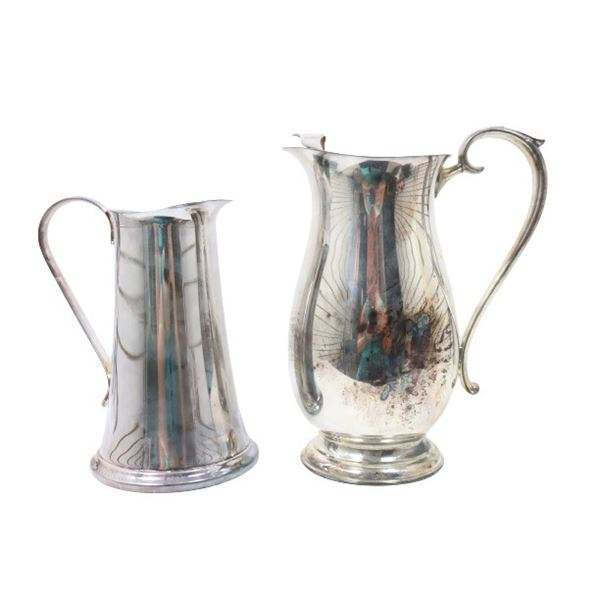 Pair of Silver Plate Pitchers
