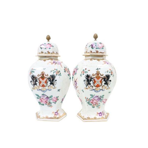 French Porcelain Floral Urns w Crest