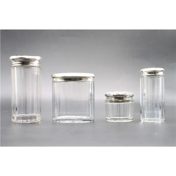 (4) Sterling Silver Top Glass Containers
