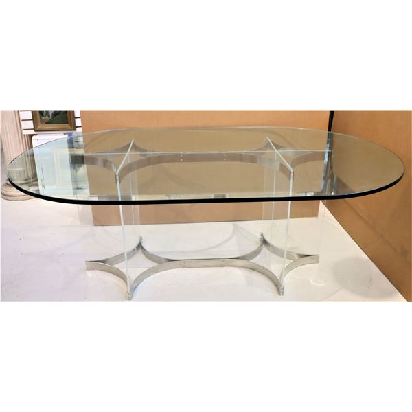 Mid Century Modern Lucite / Chrome Dining Table