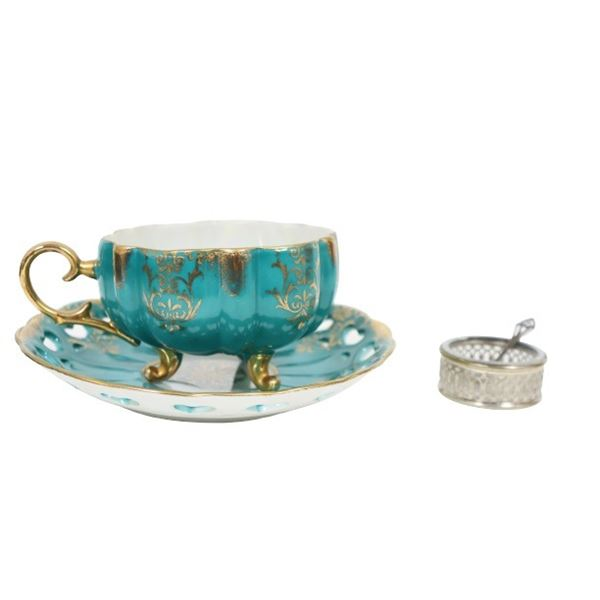 Royal Halsey Teacup & Saucer, Spoon, Salt Dish