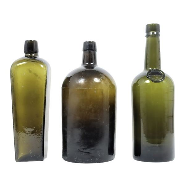 (3) Antique European Glass Bottles, 1800's
