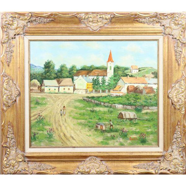 20th C Country Village Landscape, Amer,Signed, O/C