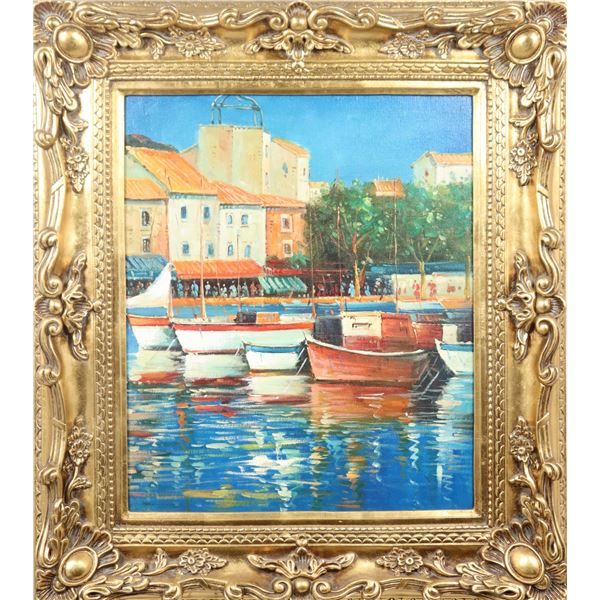 20th C. European Coastal Scene, Oil on Canvas