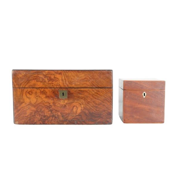 (2) Two Antique Wooden Boxes