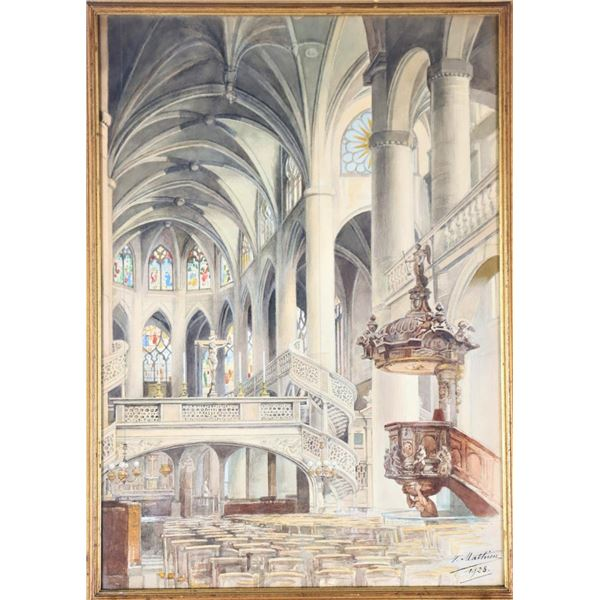 V. Mathiew (20th C.) Watercolor