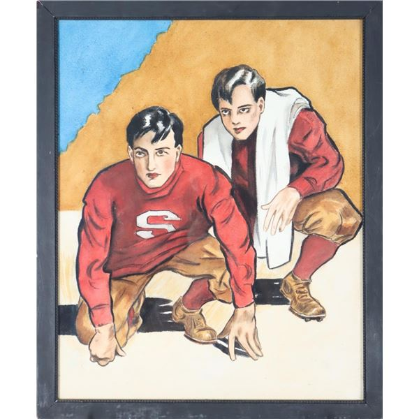 Vintage Painting of Stanford Football Players