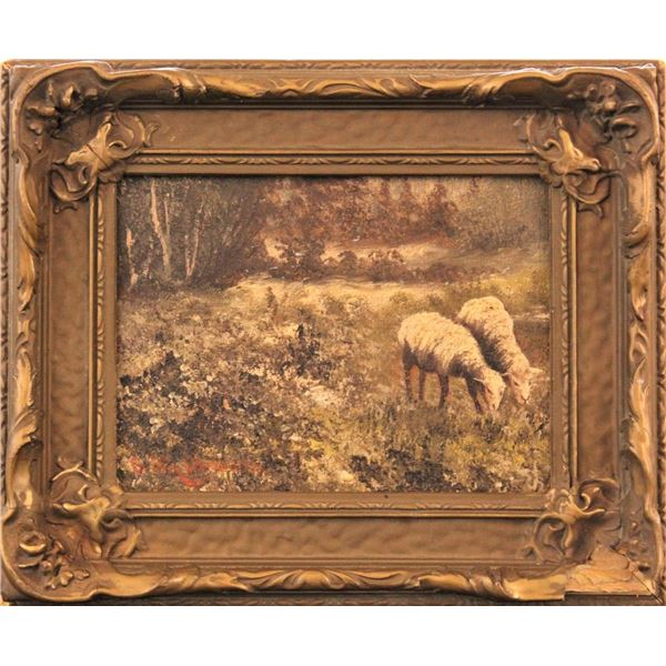Antique Oil of Two Sheep Grazing, O/B
