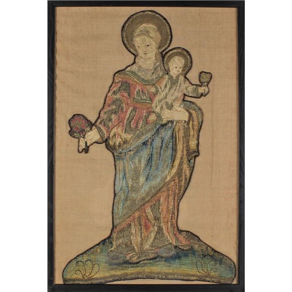 Virgin and Child 15th C. Italian Embroidery