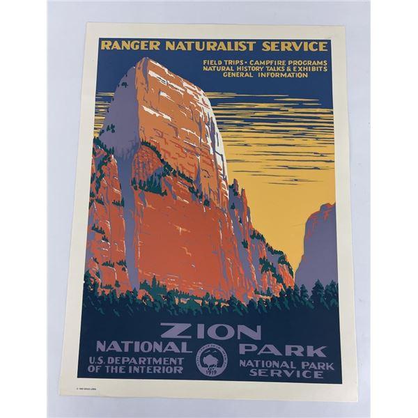Zion National Park Naturalist Service Poster
