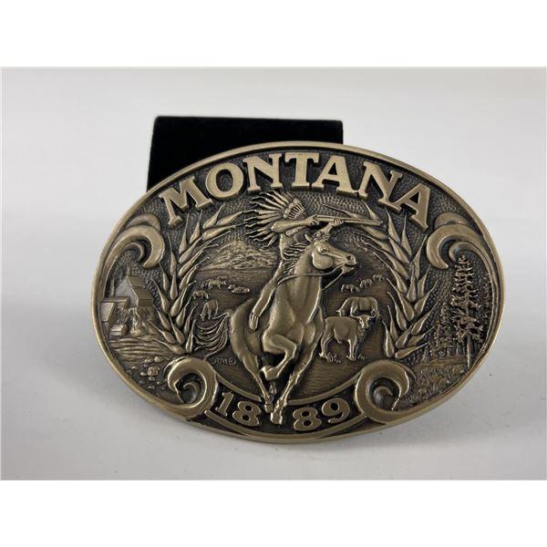 Brass Montana 1889 Indian on Horseback Belt Buckle