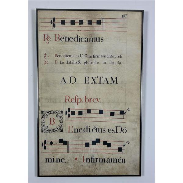 Benedicamus Domino Illuminated Vellum Sheet Music