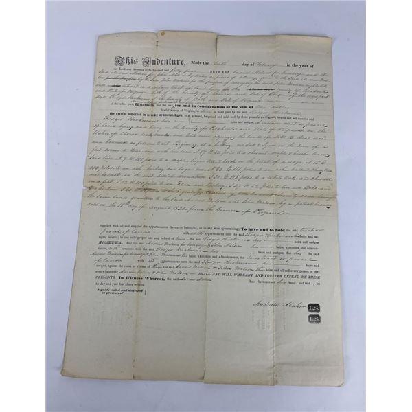 1844 Commonwealth of Virginia Land Indenture Deed