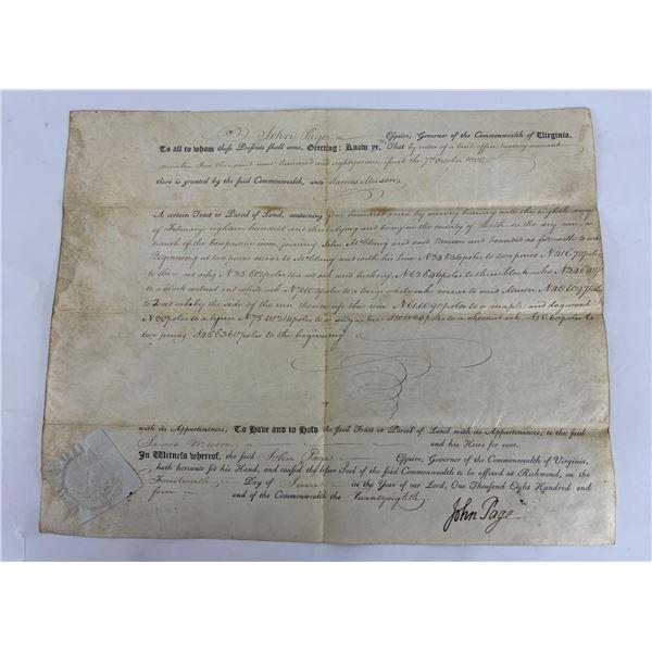 1804 Commonwealth of Virginia Land Indenture Deed