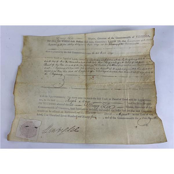 1794 Commonwealth of Virginia Land Indenture Deed