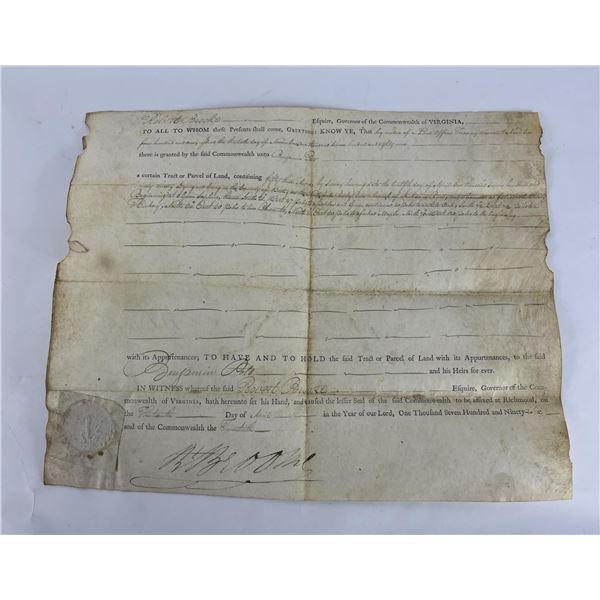 1796 Commonwealth of Virginia Land Indenture Deed