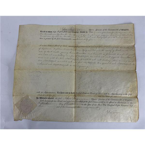 1802 Commonwealth of Virginia Land Indenture Deed