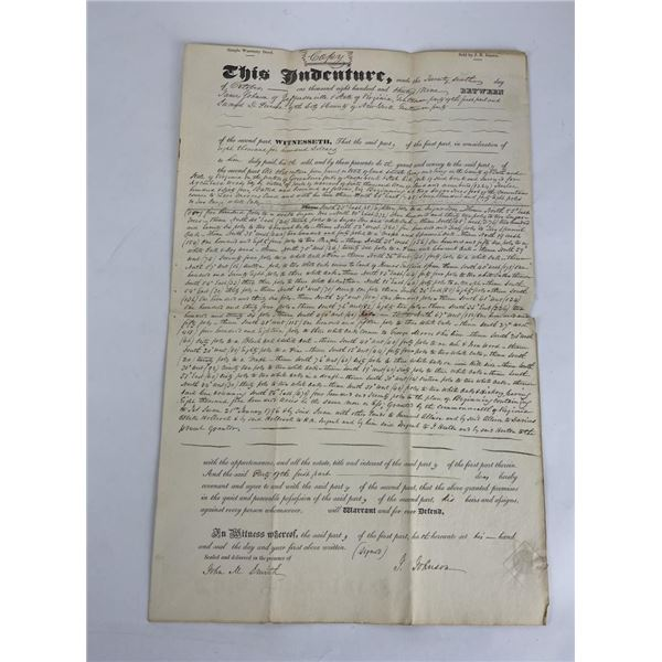1839 Commonwealth of Virginia Land Indenture Deed